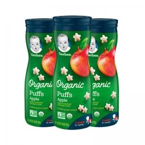 【保税仓】Gerber 嘉宝 婴幼儿辅食有机星星泡芙三段8个月以上 42g*3罐 苹果味