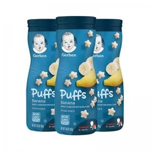 【保税仓】Gerber 嘉宝 婴幼儿辅食星星泡芙三段8个月以上 42g*3罐 香蕉味